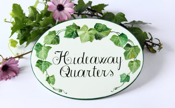 Green ivy Personalized  House Sign Personalized by DipintoAdArte