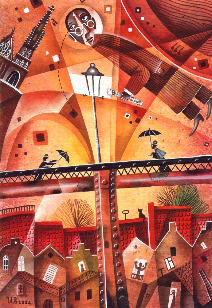 Nusle Bridge by Eugene Ivanov, watercolor, 2004.  #eugeneivanov #cubistic #urban #landscape #cityscape #cubism #@eugene_1_ivanov