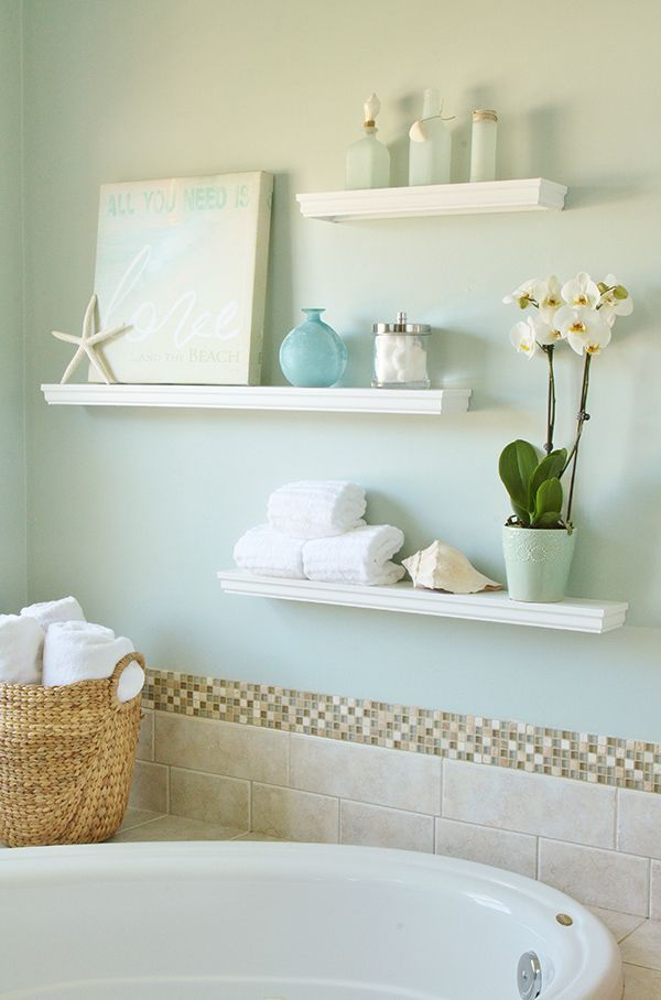How to Build Floating Display Shelves. Shelves are a great way to maximize use of all available space and get things off the ground. They can be decorative, serve as storage, etc. I like the crisp white color of the shelves, but what stood out to me first - the beautiful wall color and back splash. These thoughtful details really tie the design together.