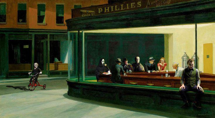 Reinterpretation of Edward Hopper's Nighthawks by Gaki Niccals