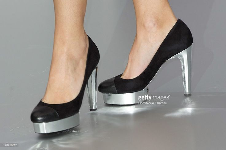 Photo d'actualité : Shoes worn by Virginie Ledoyen as she attends the...