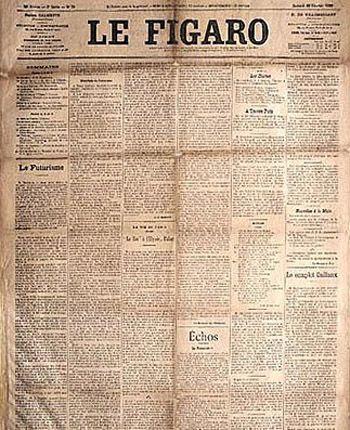 1909, Publicação do manifesto do Futurismo de Filippo Marinetti no jornal Le Figaro