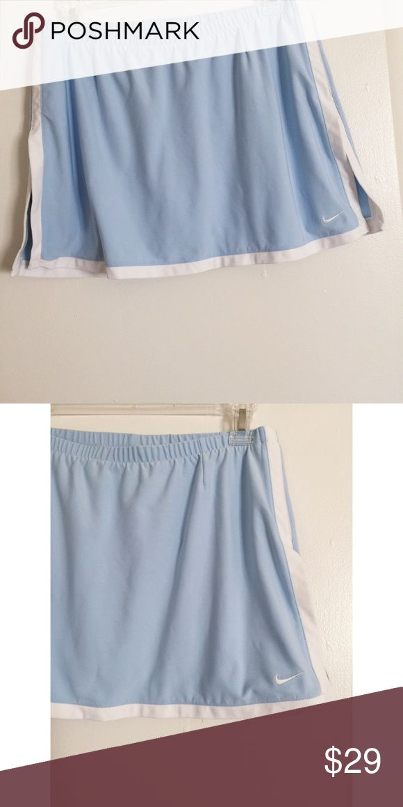 Vintage Baby Blue Nike Skort✔️ Adorable Vintage Baby Blue Nike Tennis Skort✔️   -the tag is cut out, but fits like a S/M! (More on the medium side! It fits me, & I usually wear a size 4 for reference) I can take measurements/ pictures if needed! :)   -Colors: Light/Pastel Baby Blue & White (side/bottom hem edges & Nike logo)  -Body-con Shorts inside, Super adorable 'mini' skirt look! -No Flaws! -Also listed on Depop & Ⓜ️ercari!    💫tags: 90s babe, pink, UNIF, tennis, athletic, sports, golf…