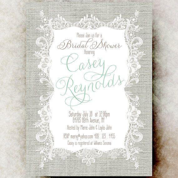 Linen Lace Bridal Shower  Grey bridal shower by DivineGiveDigital, $21.00