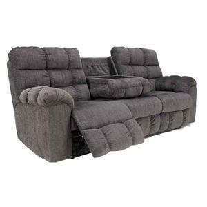 Sectional Sofas Acieona Recliner Sofa with Drop Down Table in Slate Nebraska Furniture Mart