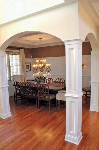 Columns for dining room decor pinterest for Dining room designs with pillars