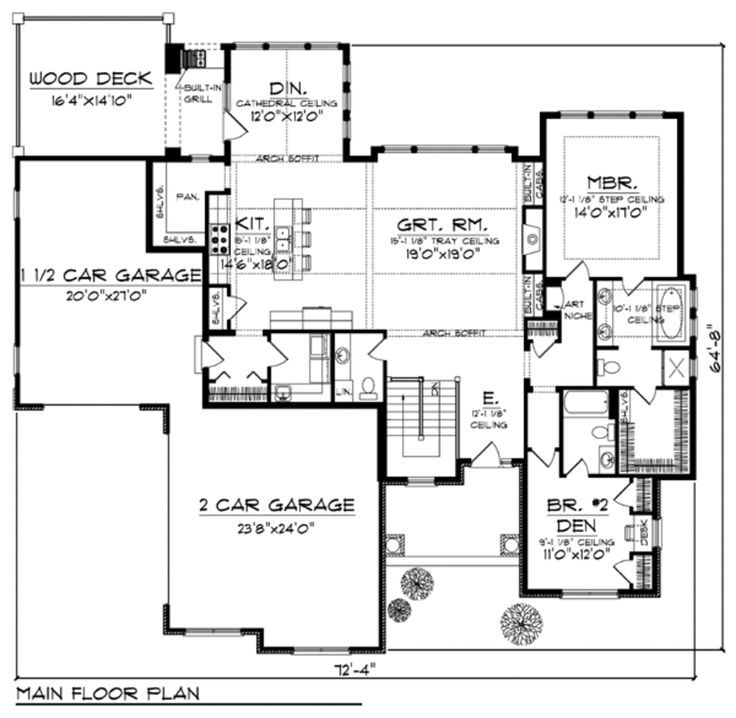 Craftsman style house plans 2500 square feet for 2500 sq ft ranch house plans