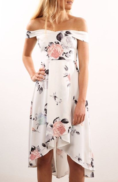 My Side Dress White Grey Print