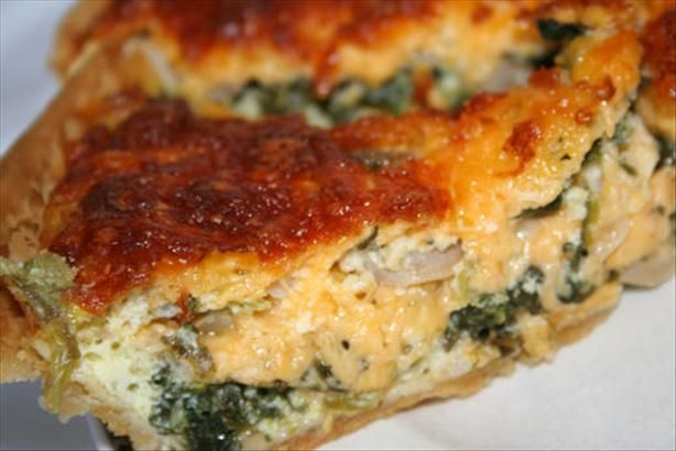 Spinach & Feta Quiche.  Definitely cut the butter in half on this recipe.  I used a big bunch of fresh spinach instead, just threw it in at the very end of step 2 and cooked it down. I used regular feta and medium cheese and I did not have mushrooms on hand. Turned out great!