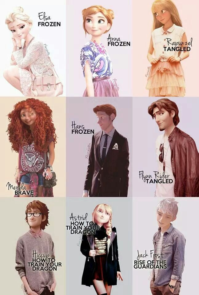 Disney characters in modern dress.