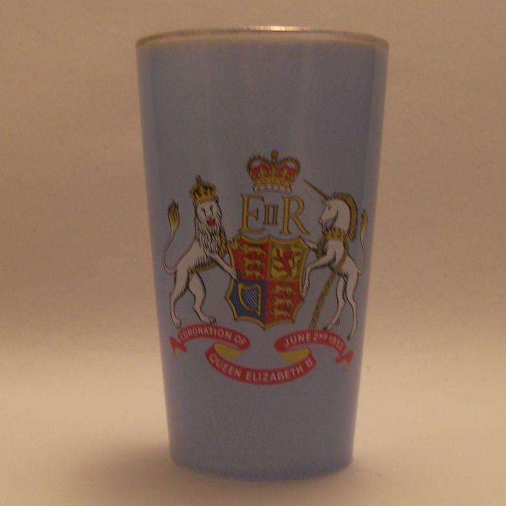 Chance glass 1953 Coronation blue glass tumbler