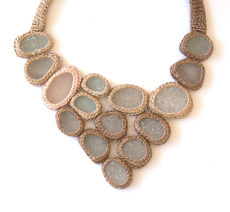 Statement bib necklace with 15 sea glass Weddings beige cream crochet collar OOAK bohemian beach handmade gift her Easter Birthday spring. $135.00, via Etsy.