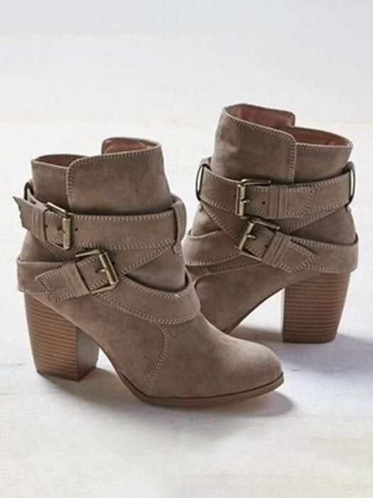 dd9f5cf4e8e Block Heel Belted Ankle Boots in 2019