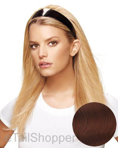 """HairDo Headband Extension R130 (Dark Copper) by HairDo. $99.00. Overall 19 -21"""". The length of the hair, top to bottom, is approximately 19 to 21 inches and gives you approximately 12 to 14 inches from the nape.. The Headband Fall is the perfect solution to a bad hair day or limited styling time!. The Styleable Headband Fall by hairdo is a one piece extension system with interchangeable headbands.. HEAT FRIENDLY TRU2LIFE reg nbsp SYNTHETIC FIBER 2 INTERCHANGEABLE HEADBAN..."""