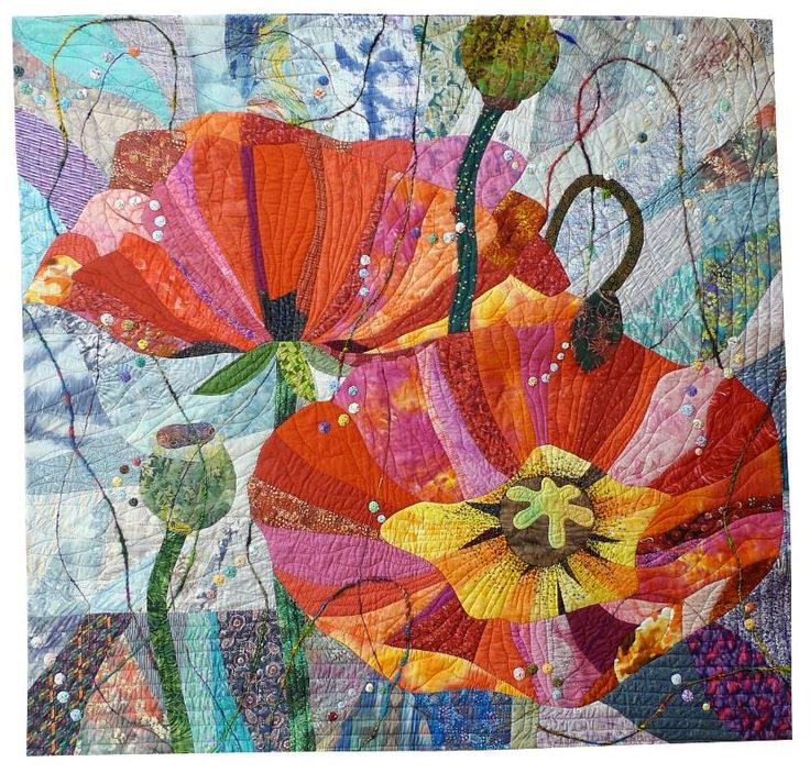 Images about embroidered poppies and others flowers