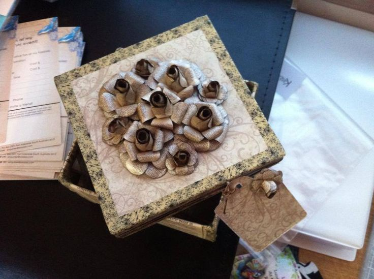 Kaszazz paper mache box decorated with July host incentive.
