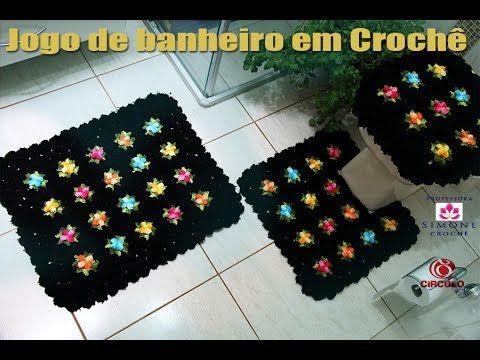 Jogo de Banheiro Pipoquinha em crochê - Tampa Vaso - Professora Simone