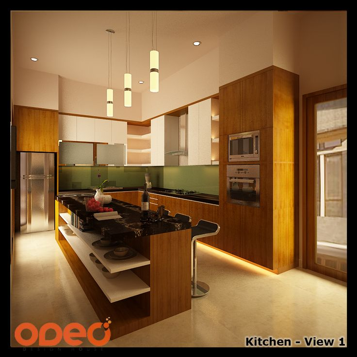 We designed and layout the kitchen to maximise the space and the experience. Stools are placed so that our client would be facing the garden while having their meal.  Location : Jakarta, Indonesia