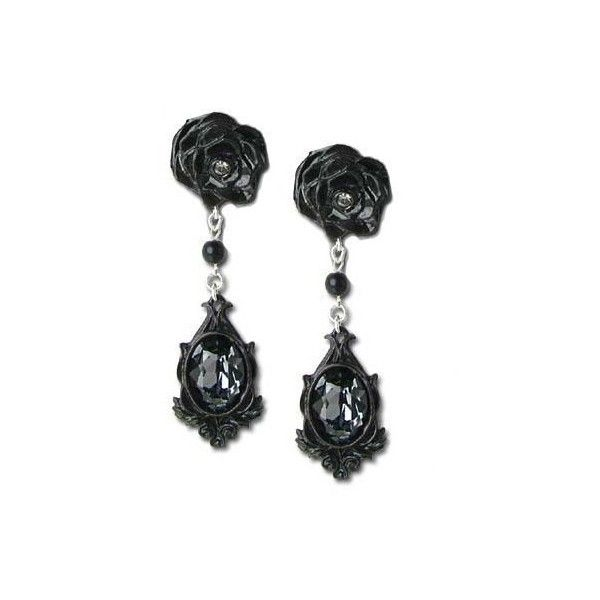 Dark Desires Black Rose Crystal Gothic Earrings (£46) ❤ liked on Polyvore featuring jewelry, earrings, black, gothic jewellery, rose earrings, goth earrings, crystal earrings and crystal stone jewelry