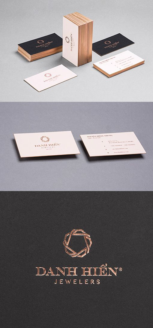 9311 best unique business card design images on pinterest business sophisticated luxury copper foil stamped and edge painted business cards for a jeweller reheart Images