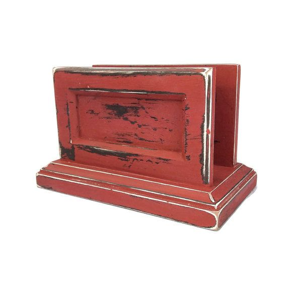 red napkin holder rustic napkin storage red by