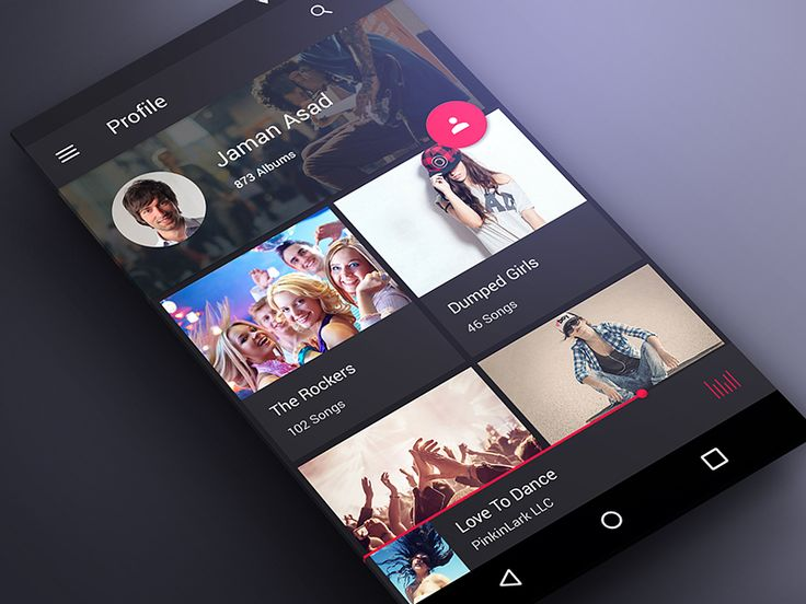 Profile Screen for Music App in Material Design