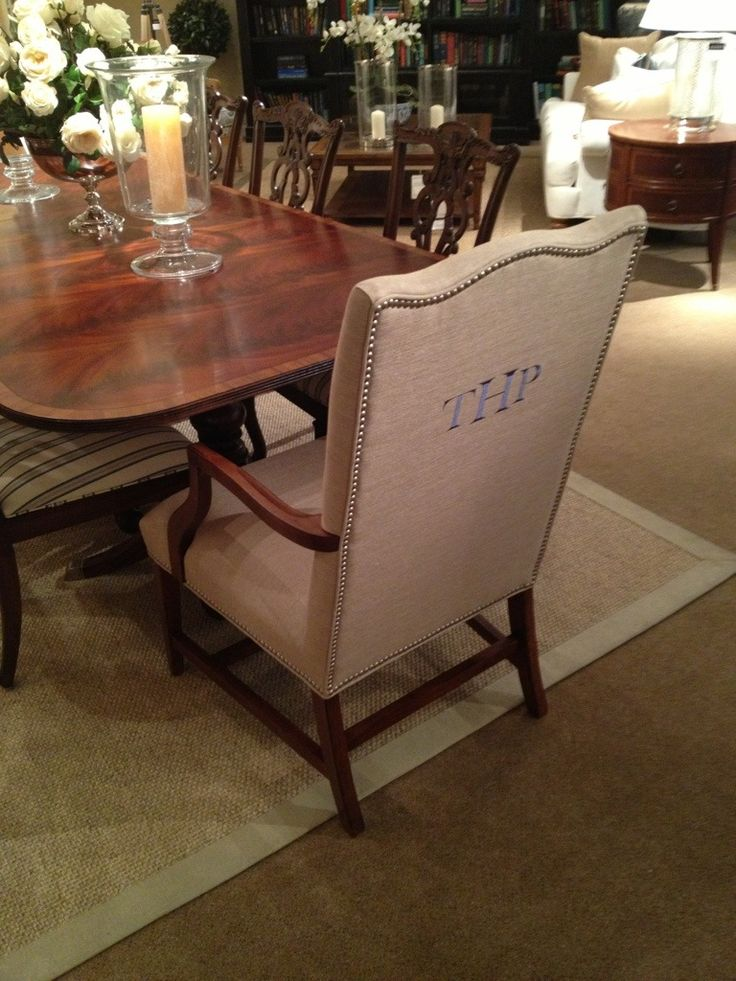 Monogrammed dining room chairs yes please found at ethan for Dining room tables ethan allen