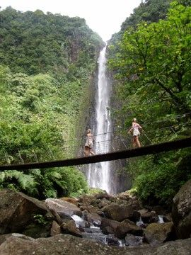 Aux Ecrevisses Cascade.   A 110 meter waterfall on the french carribean island of Basse Terre, GUADALOUPE.