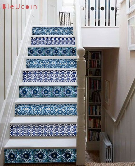 Wall decal Stair case Blue pottery style strips by Bleucoin-- I would break some of these up with less busy patterns but either way LOVE the blue and white...