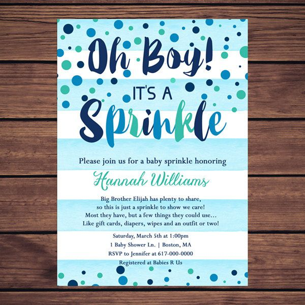 Baby Sprinkle Invitation Boy Blue by DesignedbyGeorgette on Etsy