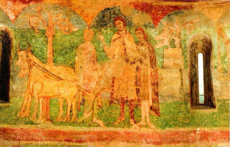Fresque in romanesque rotunda of St.Catherine from 1037 in Znojmo (South Moravia), Czechia