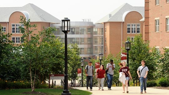 Students on campus in front of the residence area, Stephenson Hall, at IUP (Indiana University of Pennsylvania) in Indiana, Pennsylvania