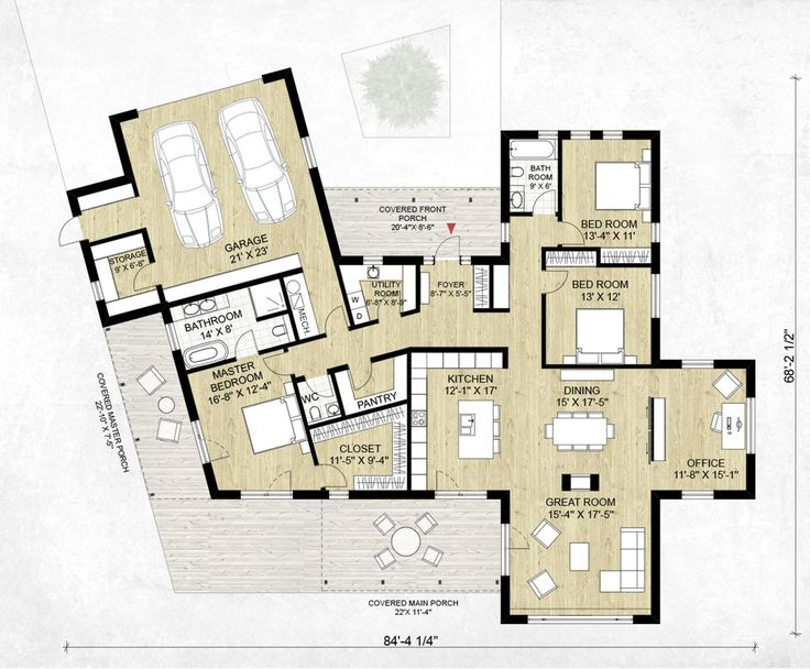 Modern Style House Plan - 3 Beds 2.5 Baths 2116 Sq/Ft Plan #924-4 Floor Plan - Main Floor Plan - Houseplans.com