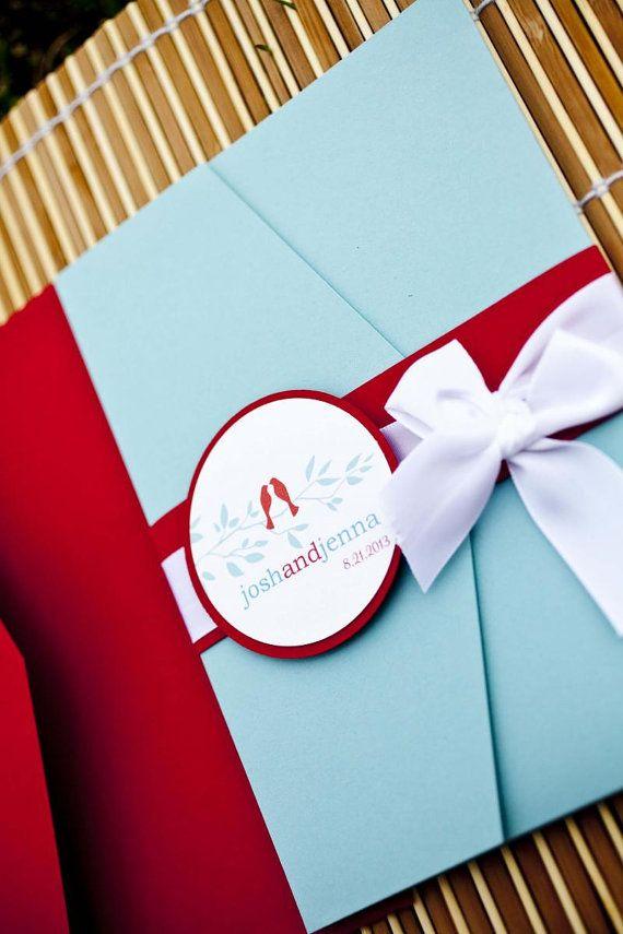 Retro Love Birds Pocket Wedding Invitation Set