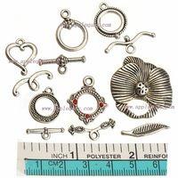60 комплект своими руками ювелирные изделия аксессуары металл в форме сердца цветок круг винтажный серебро от смешанный для браслеты крючки переключение