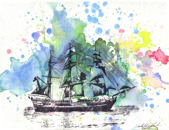 Sail Boat Ship Watercolor Painting Original 8 5 X 11 In