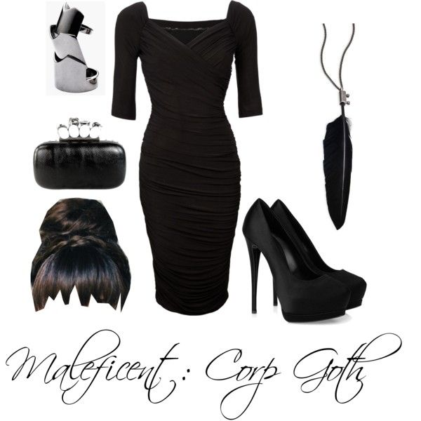 Corp Goth wardrobe inspiration: Maleficent (The hairstyle is the only thing I wouldn't wear) Alternative Outfits, Alternative Fashion, Business Outfits, Business Fashion, Corp Goth, Work Fashion, Fashion Outfits, Corporate Goth, Goth Look
