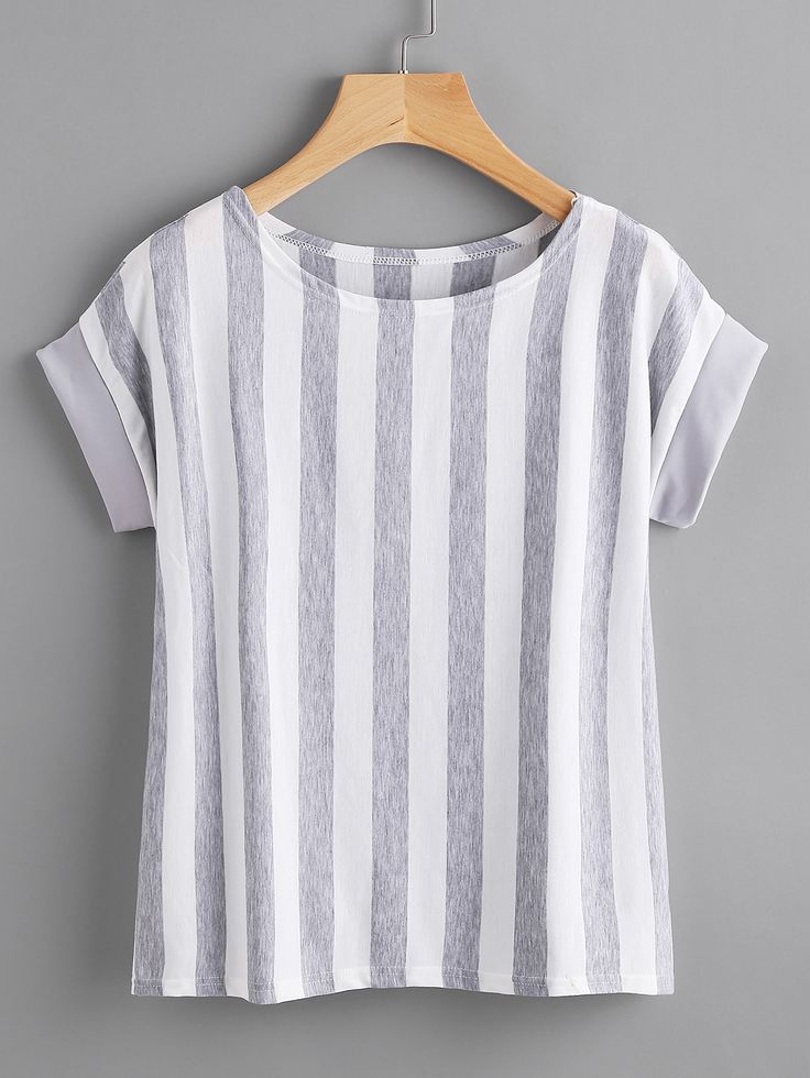 Shop Contrast Vertical Striped T-shirt online. SheIn offers Contrast Vertical Striped T-shirt & more to fit your fashionable needs.