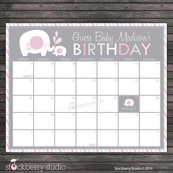 Elephant Guess the Due Date Calendar Printable Pink and Gray Baby Shower Game by stockberrystudio