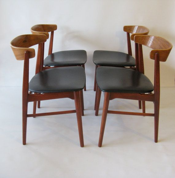 Set of Four 1950s Danish Modern Chairs attr. H.W. by windesign.