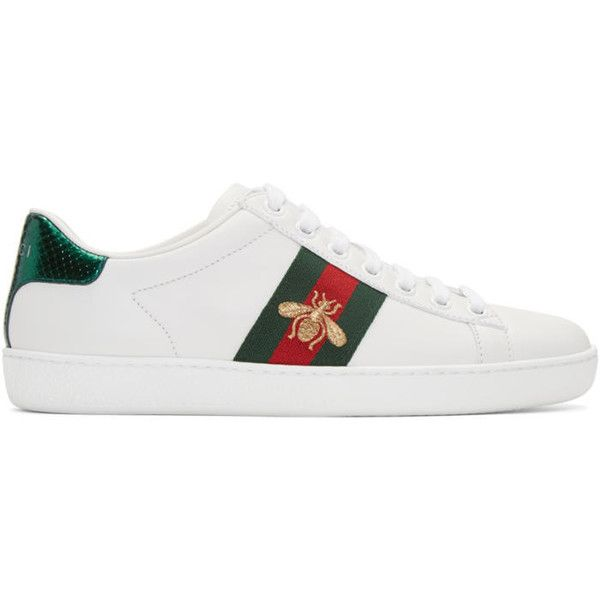 Gucci White Leather Bee Stripe New Ace Sneakers (26,690 PHP) ❤ liked on Polyvore featuring shoes, sneakers, white, white trainers, gucci sneakers, white shoes, white lace up shoes and leather shoes