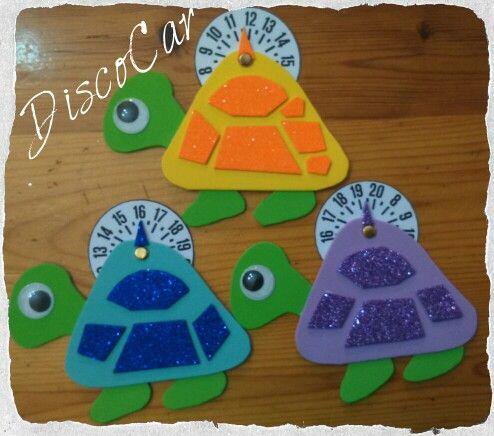 Disco orario Tartarughe/turtles in carta eva, crepla, fommy