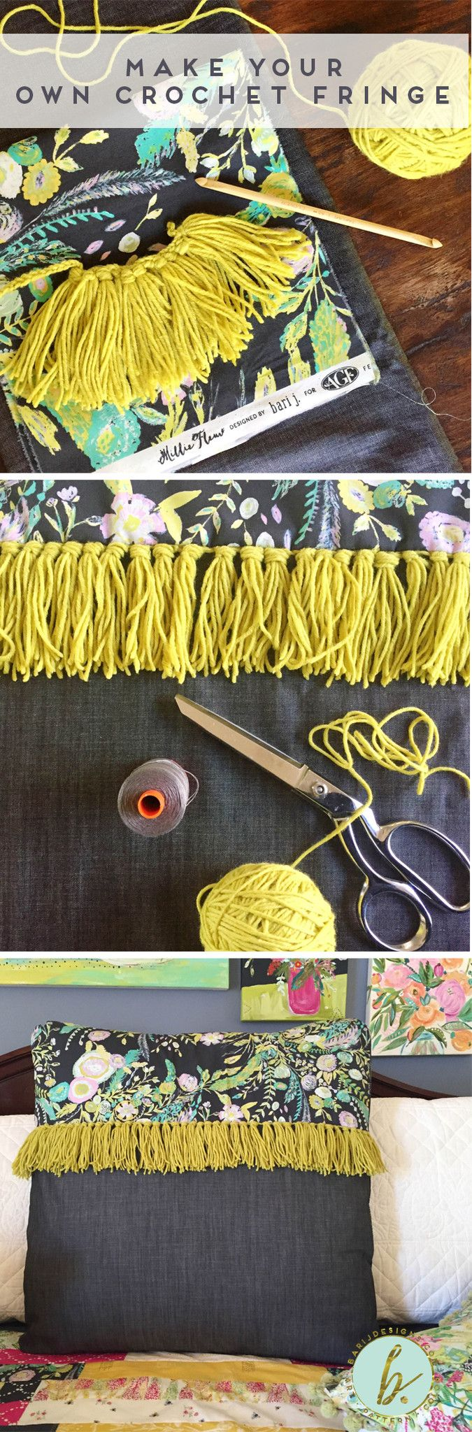The new Art Gallery Fabrics Denim arrived this weekend, and I was chomping at the bit to make a pillow with Millie Fleur and some fringe. Of course, being picky