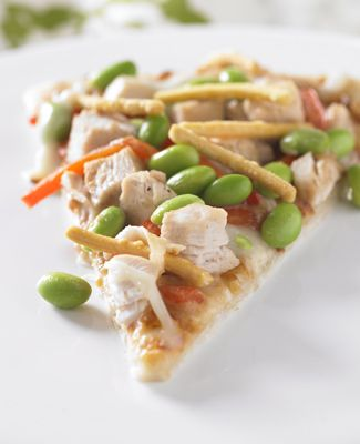 Asian Chicken Edamame Pizza Image. Easy Healthy Recipe curated by SavingStar. Save money on your groceries and online shopping the smart and simple with with savingstar.com!
