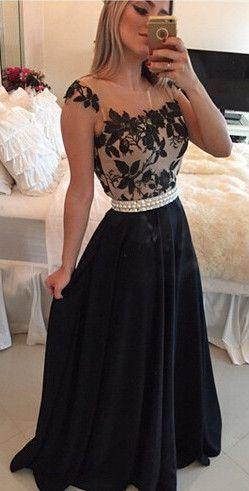 Appliques black sexy long prom dress from www.27dress.com