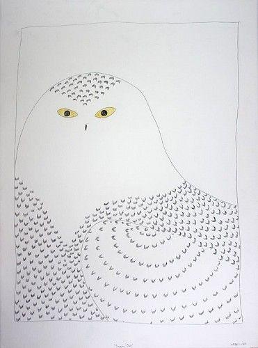 Ningeokuluk Teevee, Snowy Owl 2008, Coloured pencil and pentel pen on paper