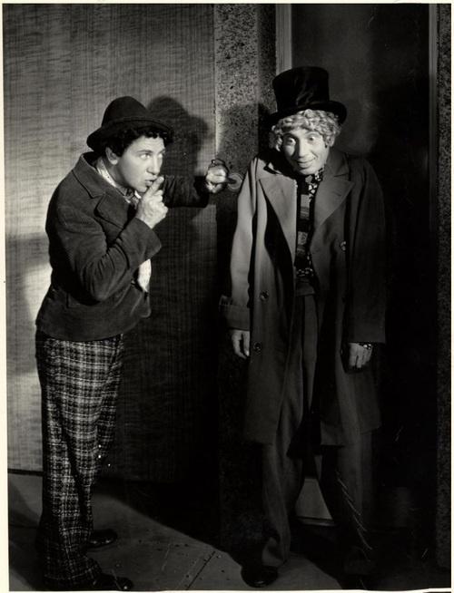 Chico & Harpo Marx in production still from Duck Soup (1933, dir. Leo McCarey)