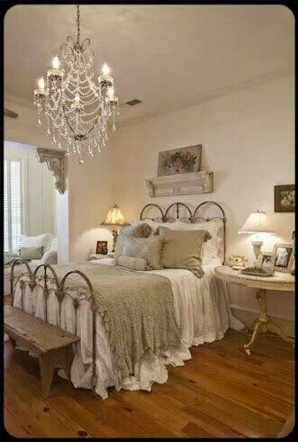 Bedroom-Love the chandelier but don't know if I could do without a ceiling fan in the bedroom?