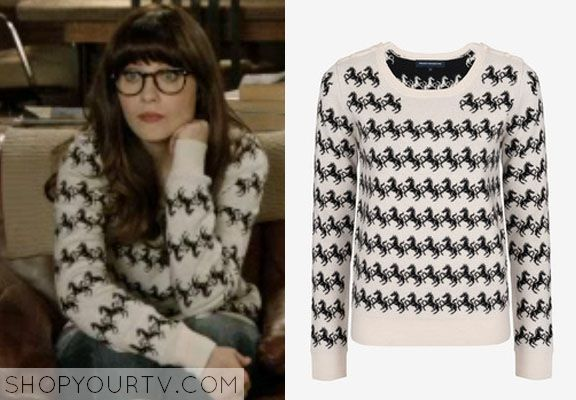 Jessica Day (Zooey Deschanel) wears this cotton-wool blend horse print sweater with button detail shoulders in this week's episode of New Gi...
