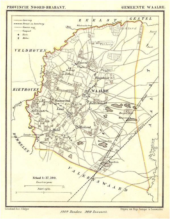 55404 Plattegrond van de gemeente Waalre.... Suringar, H.; Kuyper, Jacob